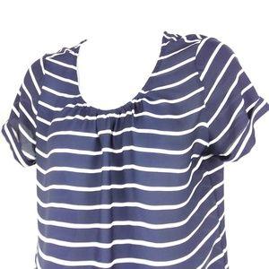 white navy sheer stripe blouse top shirt summer